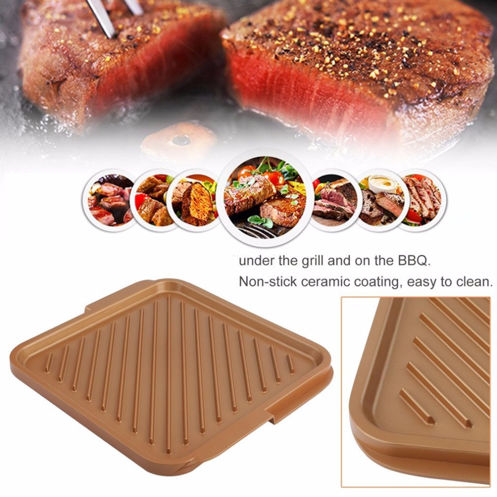 Non Stick Grill Baking Pan Copper Bakeware Rectangular Cooking Pan Griddle Pan Durable Extra-Large Kitchen Baking Tool