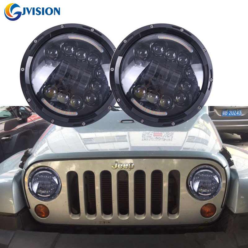 Auto Parts 7'' Round headlight 90W LED Headlamp 7 inch Halo Ring Angel eyes for Jeep Wrangler Hummer Harley Davidson