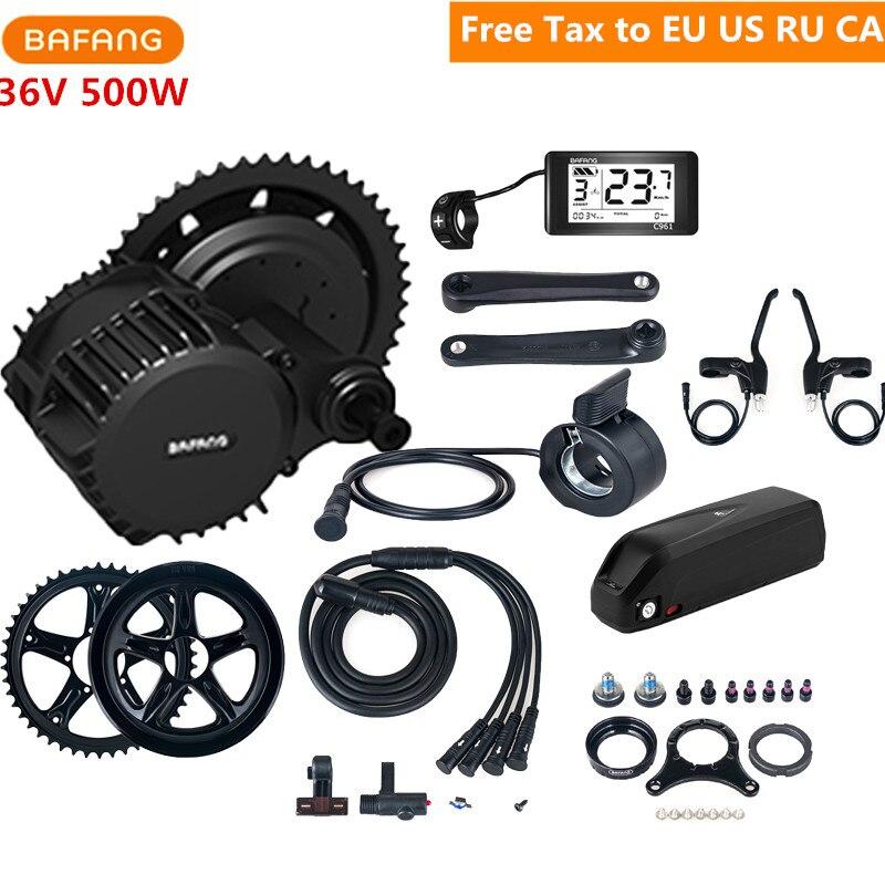 36V 500W Bafang 8fun BBS02B Mid Drive Motor Kits Crank C965 C961 Eletric Bicycle Ebike Kits With 36V 13AH Lithium Ebike Battery