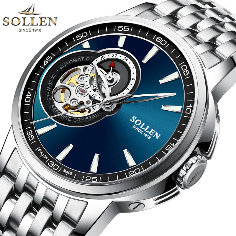 Relojes Watches Men Top Brand Luxury SOLLEN Tourbillon Automatic Mechanical Watch Mens Fashion Wristwatch relogio masculino forsining automatic tourbillon men watch roman numerals with diamonds mechanical watches relogio automatico masculino mens clock