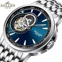 Relojes Watches Men Top Brand Luxury SOLLEN Tourbillon Automatic Mechanical Watch Mens Fashion Wristwatch relogio masculino