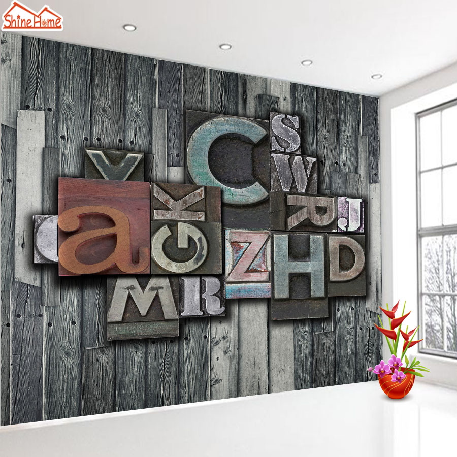 ShineHome-Nature Letter Art Wood Board 3d Photo Wallpaper Rolls for Walls 3 d Livingroom Wallpapers Mural Roll Paper Background shinehome red van gogh almond blossom painting wallpaper rolls for 3d walls wallpapers for 3 d living rooms wall paper murals