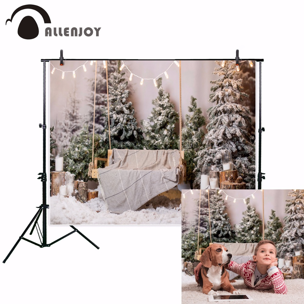 Allenjoy photography backdrop Christmas interior snow with tree and a wooden bench new background photocall custom photo printed allenjoy photography background baby shower step and repeat backdrop custom made any style wedding birthday photo booth backdrop