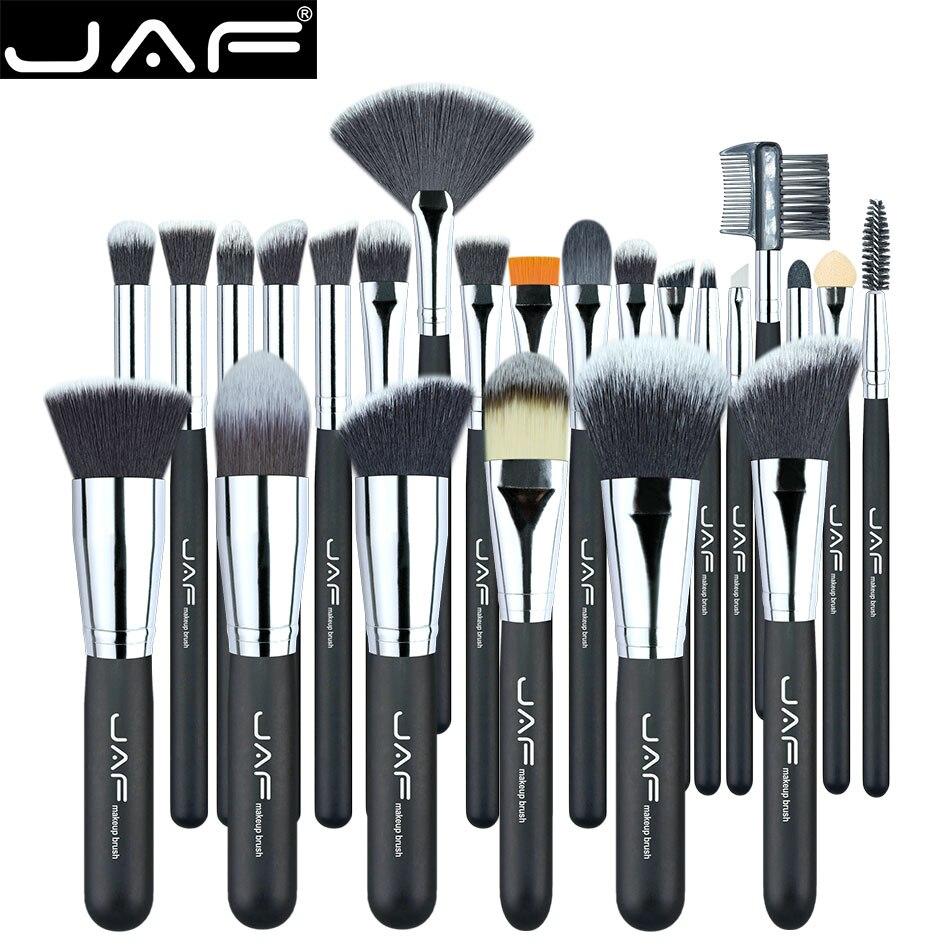 JAF Végétalien 24 Pcs Professionnel Maquillage Brosses Très Synthétique Souple Taklon Cheveux Convient Cadeau En Métal Boîte D'emballage J24SSY-B