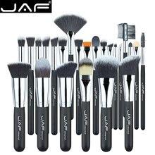JAF Vegan 24 Pcs Professional Makeup Brushes Very Soft Synthetic Taklon Hair Suitable Gift Metal Box Packing J24SSY-B