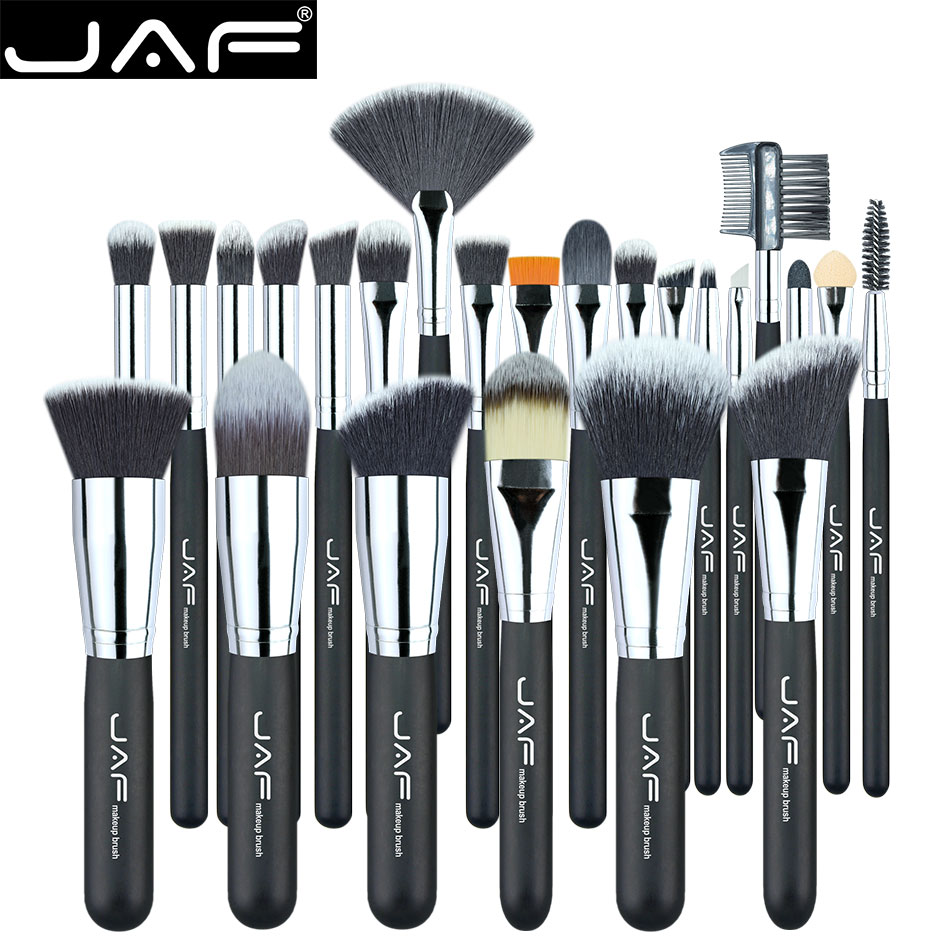 JAF Vegan 24pcs Professional Makeup Brushes Supreme Soft Synthetic Taklon Make Up Artist's Competent Brush Tool Set J24SSY-OPP