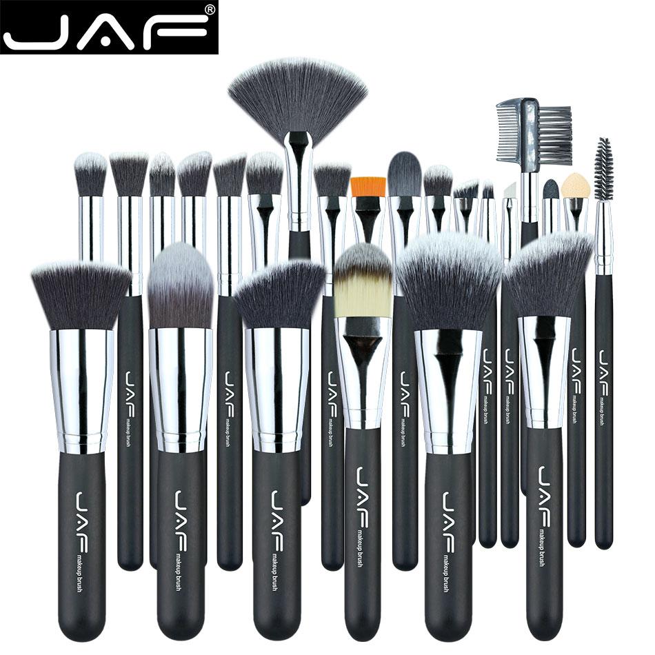 JAF Vegan 24pcs Professional Makeup Brushes Supreme Soft Synthetic Taklon Make Up Artist's Competent Brush Tool Set J24SSY-OPP