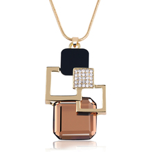 Geometric Gold Plated Pendant Necklace With Crystal Stone