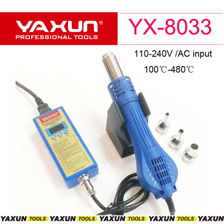 2018 New YAXUN YX8033 Portable microcomputer SMD rework station mini hot air gun for mobile phone