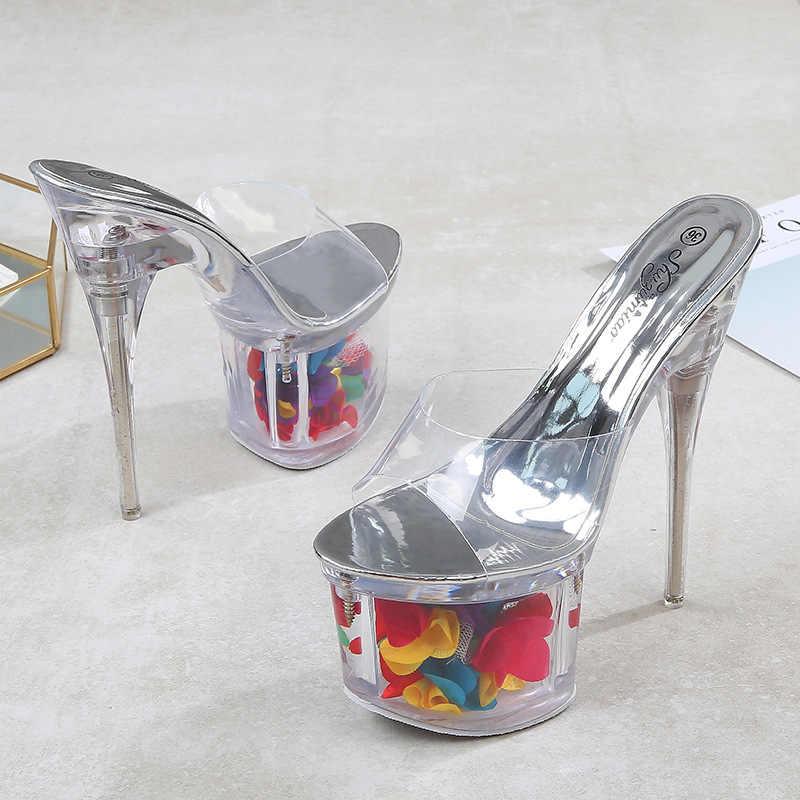 TARTA Sandalet Süper Yüksek Topuk Su Geçirmez Platformu Terlik Modeli Podyum Kutup Dans Ayakkabıları Gece Kulübü kadın ayakkabısı LFD-10366