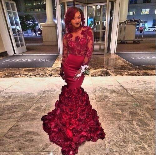 2017 Mermaid Designer Long Sleeve Burgundy Prom Dresses Hand Made Flower Plus Size Formal Evening Dress For Celebrity Gala Gown