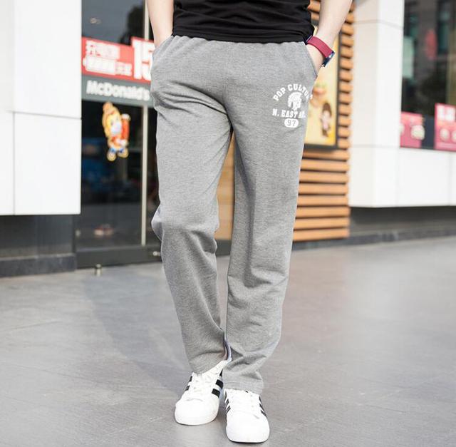 Primavera seção fina de verão dos homens calças de algodão calça casual homens jovens magros retas calças tamanho grande calças dos homens aumentar preto