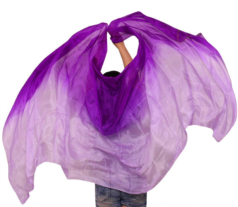Belly Dance Props Women Belly Dance Silk Veil 250*114 cm For Girls Belly Dance Accessories Veils Purple +Light purple 2 Size