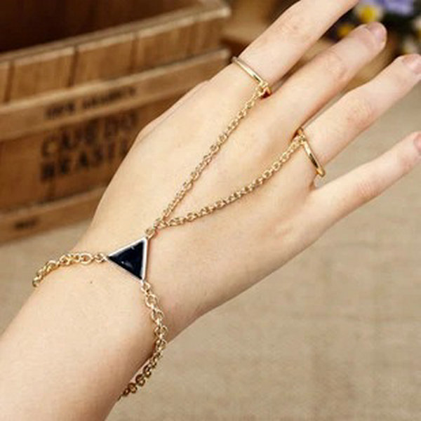 Jewelry Punk Gold Rhombic...