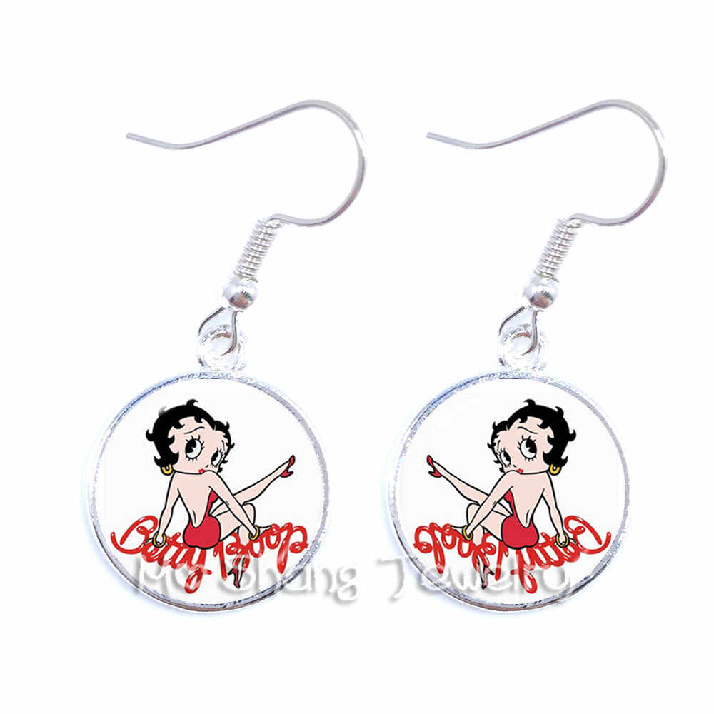 2018 New Betty Boop Earrings Harajuku Cute Cartoon Picture Dangle Earrings Jewelry Glass Cabochon Earrings Fashion Jewelry Gifts