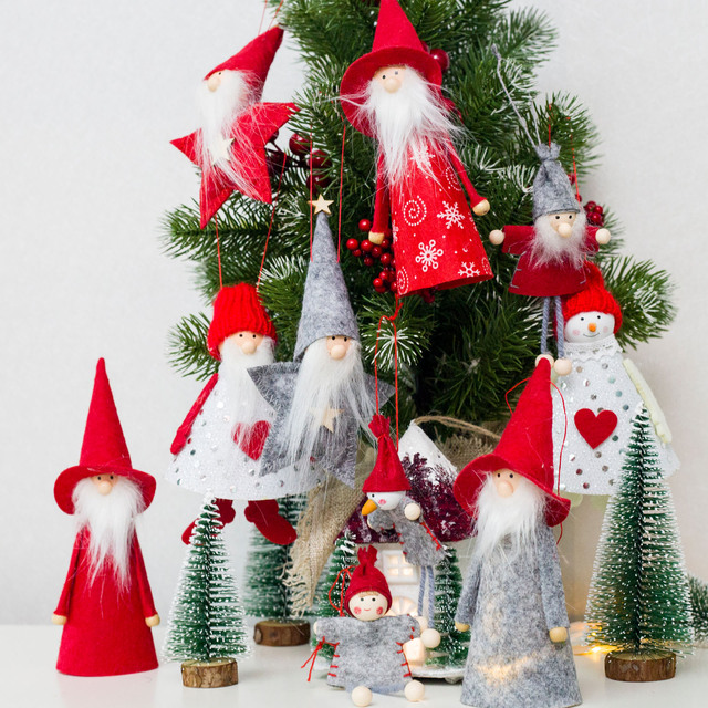christmas hat gnome plush doll xmas faceless doll plush toy mini christmas tree cute doll ornament