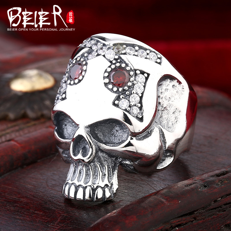 Beier 925 silver sterling jewelry 2015 punk special forehead with Zircon skull ring man jewelry BR925R009 beier 925 silver sterling jewelry 2015 men s retro domineering ring animal ring super big dragon man ring d1234