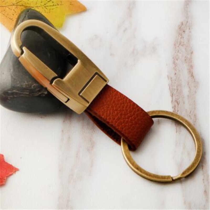 WKOUD 1Pc mode métal hommes en cuir véritable voiture porte-clés porte-clés couverture chaîne pour Ford Toyota pour voiture accessoires cadeau