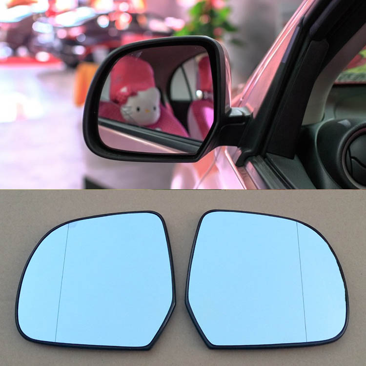 Ipoboo 2pcs New Power Heated w/Turn Signal Side View Mirror Blue Glasses For Nissan March