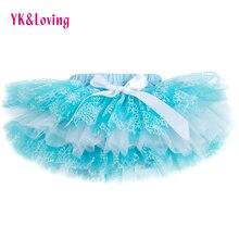 Зимние юбки для маленьких девочек тюлевые шорты юбка-пачка с рюшами светильник синего цвета, юбка-американка Летнее бальное платье на подгузник