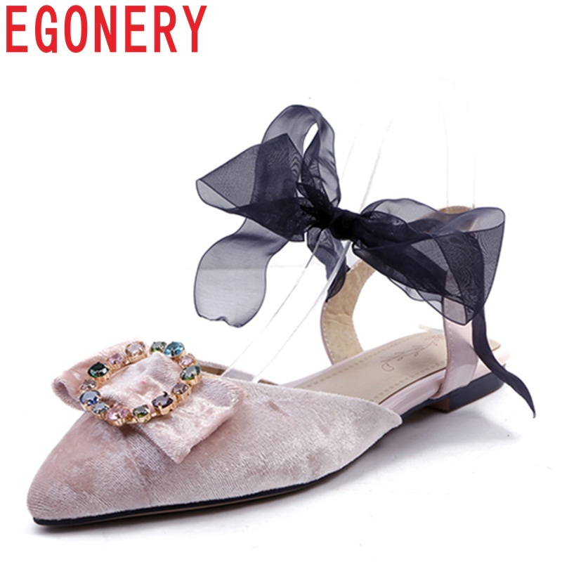 Egonery women flats new style flock butterfly-knot crystal riband lace-up fashion pointed toe large size spring flat women shoes egonery shoes 2017 spring and autumn concise wedges butterfly knot pumps simple lace up sweet round toe women fashion high heels