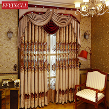 ФОТО custom made home luxury embroidered valance decoration blackout curtain fabric for living room bedroom window treatment drapes