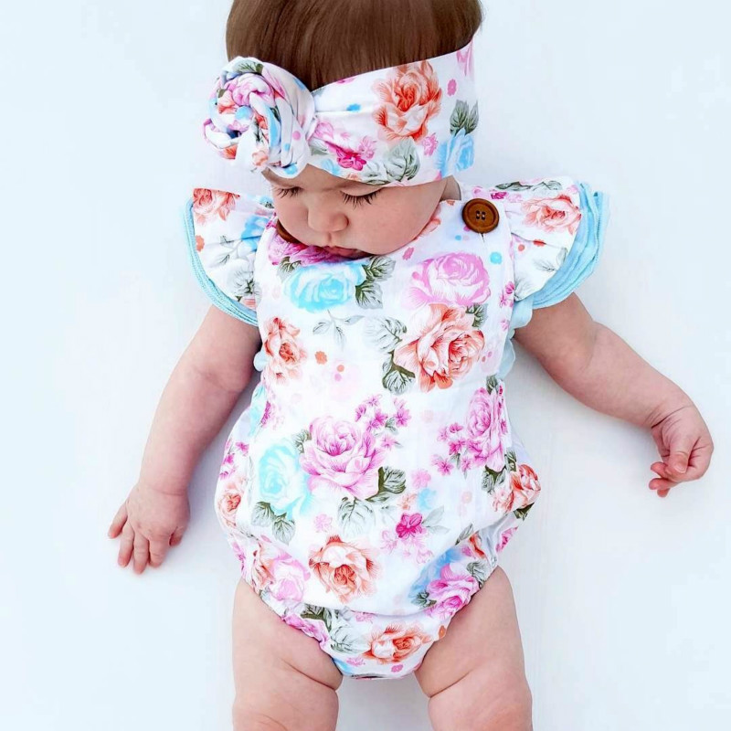 Pudcoco Baby Girls Floral Bodysuit Summer Headband Sunsuit Outfit Set