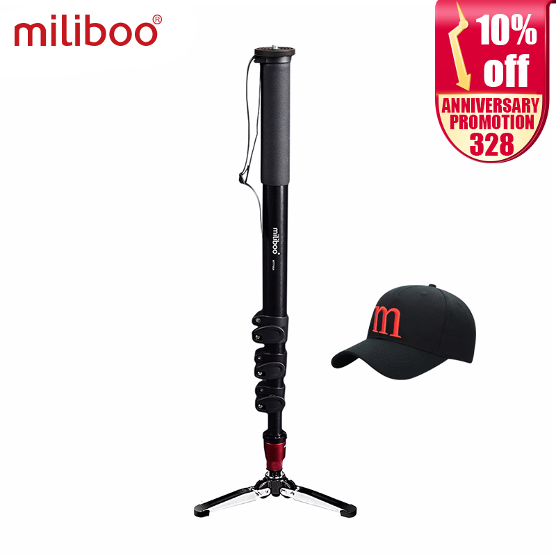 Miliboo MTT705A profesional de aluminio trípode de cámara portátil sin cabeza hidráulica / monopod dslr stand envío gratis