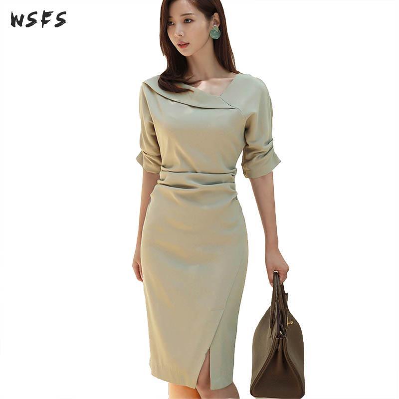 Automne robes vert demi manches femmes robe 2018 élégant bureau dames Vintage drapée moulante Sexy partie crayon robe mi-longue