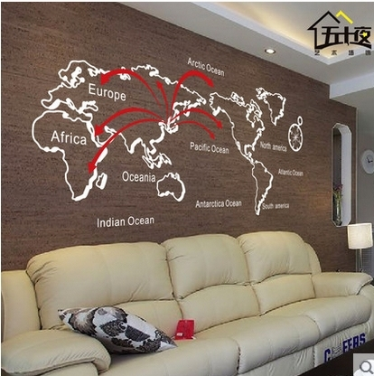 World Map Removable Wall Sticker.Free Shipping Lines Personalized World Map Wall Sticker Letters