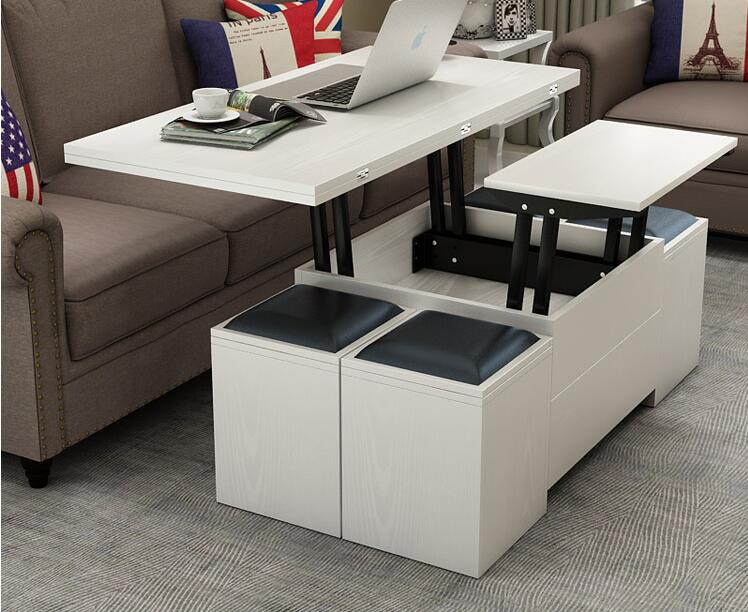 Folding Elevating Table And Table. Scale Multi-functional Storage Tea Table With Stools(China)