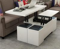 Folding elevating table and table. Scale multi functional storage tea table with stools