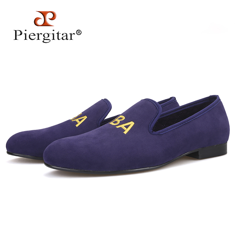 Piergitar new customize embroidery men party loafers Fashion prom and Banquet men dress shoes British style