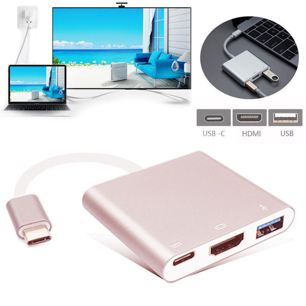 Hot-sale 4K HDMI USB 3.1 Hub USB-C & 3 Port Compatible To USB 3.0/ HDMI/ Type C Charger Adapter For MacBook Pro 4 in 1 usb c hub adapter usb 3 1 type c to hdmi 4k gigabit ethernet rj45 port usb 3 0 usb 3 1 converter for macbook laptop