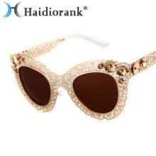 Cat Eye Sunglasses Women Brand Designer 2017 Fashion Queen Gold Butterfy Luxury Vintage Metal Sun Glasses With Flower Top Sale