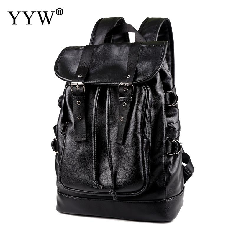 Noir grande capacité sacs à cordon hommes Pu sac à dos en cuir pour ordinateur portable pour 2018 haute qualité mode voyage sac d'école sacs à dos