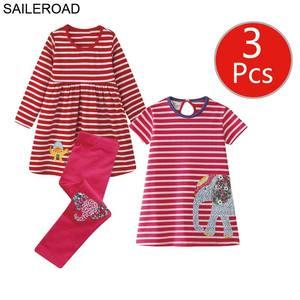 Image 2 - SAILEROAD 3pcs Girls Dress Leggings Sets for Toddler Girls Summer Autumn Clothing Unicorn Children Dresses Clothes for Girls