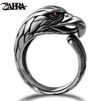 ZABRA Solid 925 Silver Vintage Black Ring Men Adjustable Punk Rock Biker Mens Rings Zirconia Stone Red Eye Gothic Animal Ring