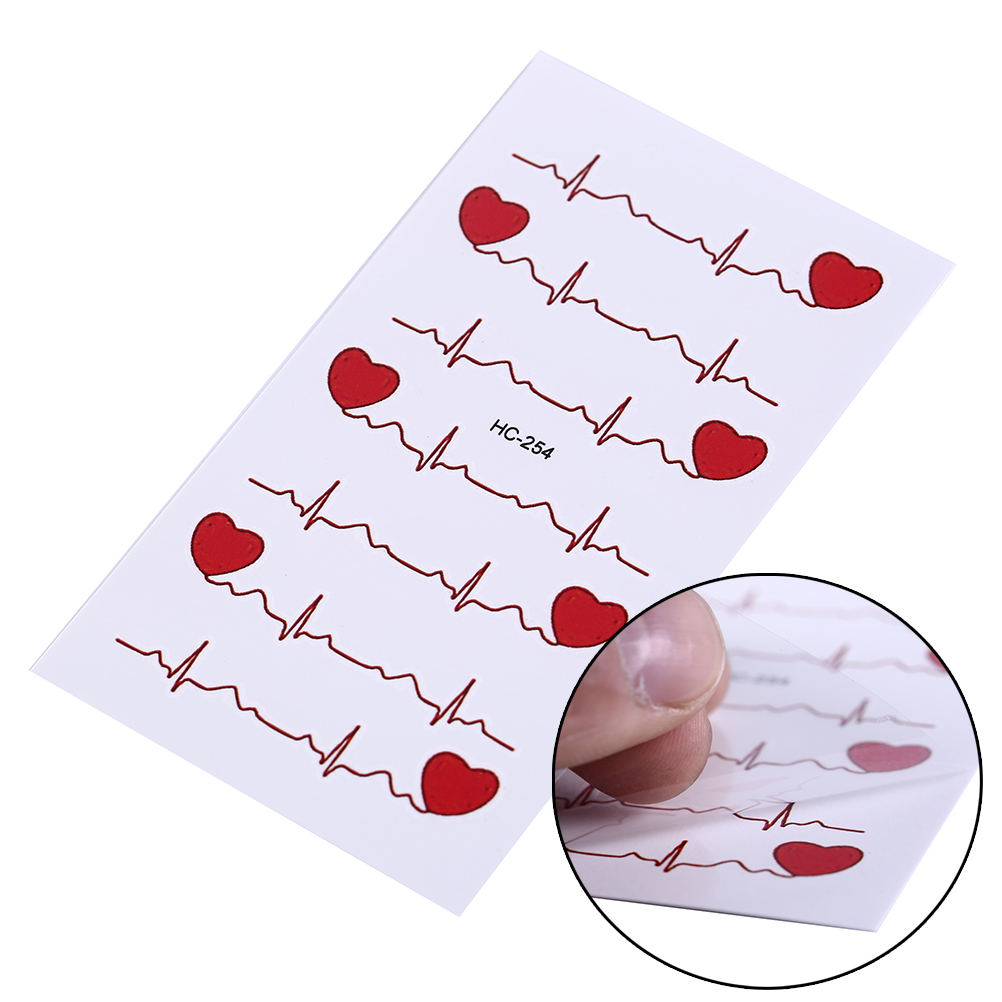 b3898b3a8f166 1pc Cute ECG Temporary Tattoo Men And Women Love Tattoos Sexy Products  Waterproof Disposable Tattoo Stickers To Cover The Scar