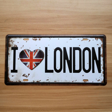 """I Love London"" garage poster iron bar antique house bar decoration Metal painting vintage signs retro wall art decor 15*30 CM"