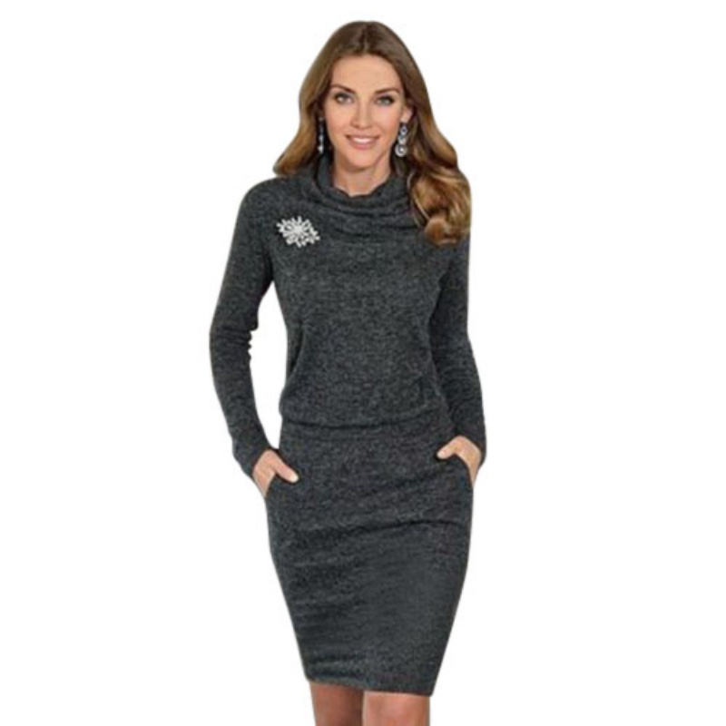 2018 Autumn Woman Dress Knitted Women Long Sleeve Casual Dress for Party Turtleneck Women sheath Dresses Clothing