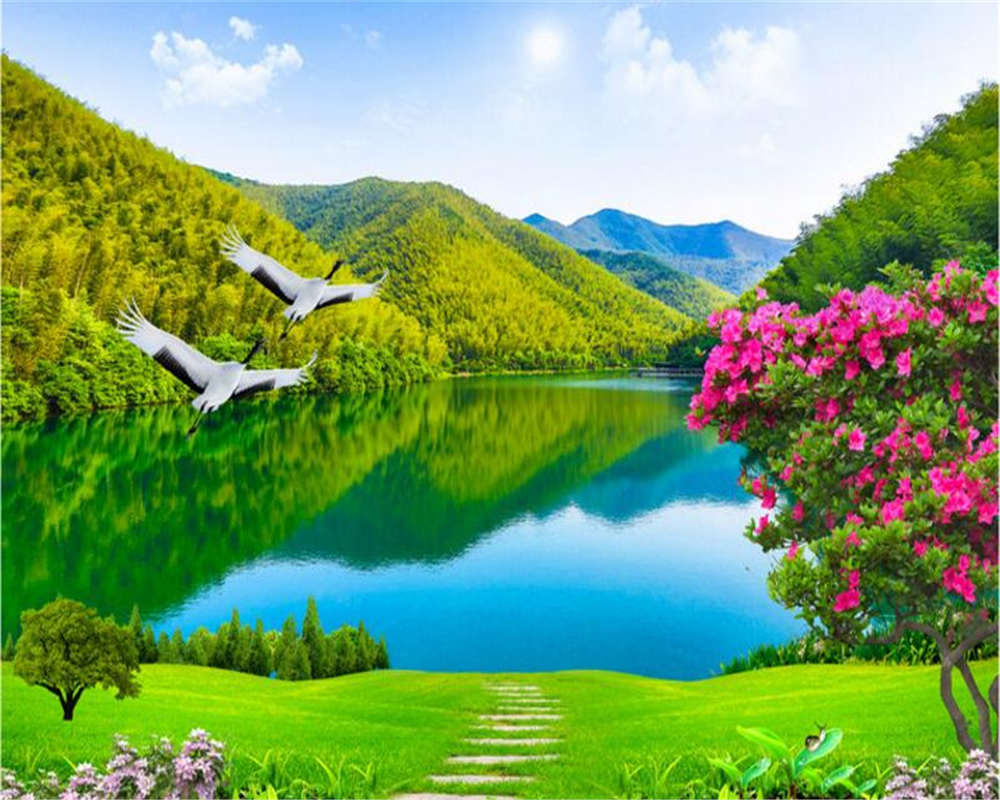 Creative Custom 3d Photo Wallpaper Hd Sea View Tv: Beibehang Custom Wallpaper Beautiful Rivers And Mountains