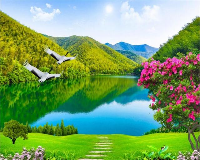 Beibehang Wallpaper Kustom Sungai Yang Indah Dan Pegunungan 3d