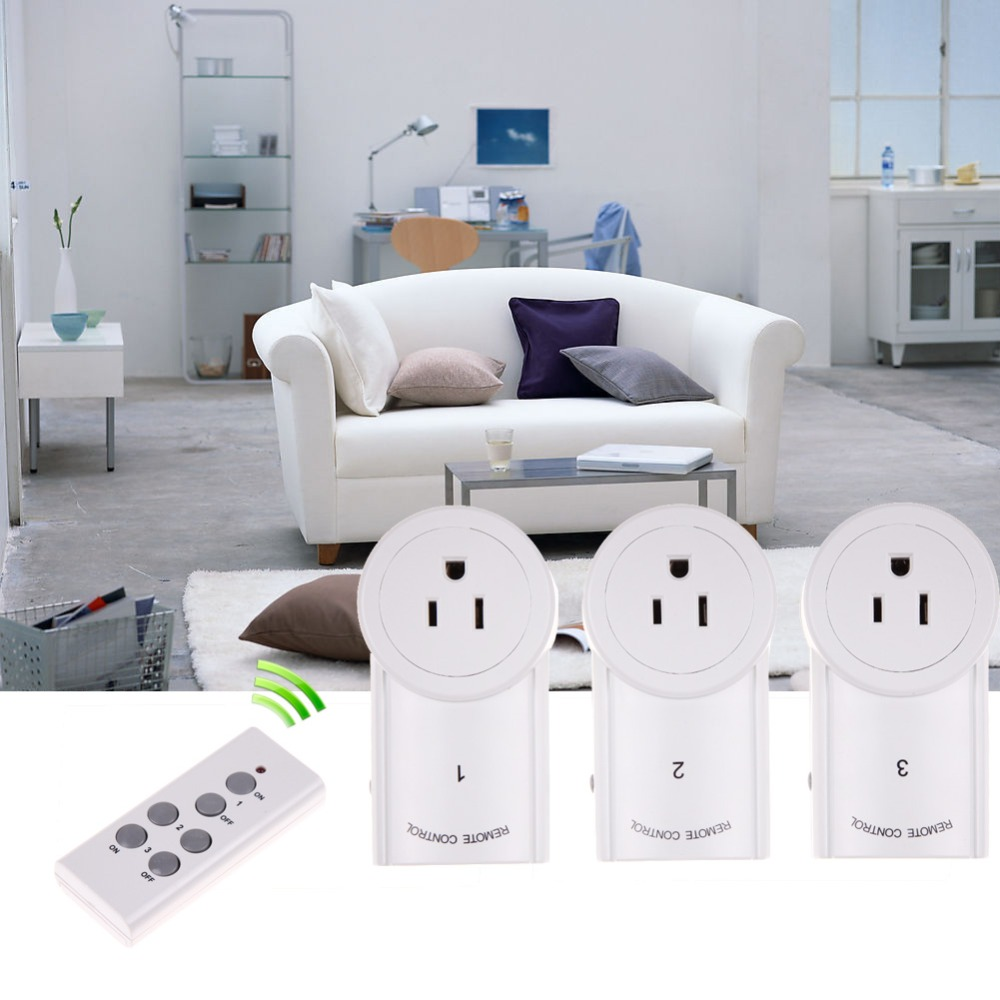 Free Shipping US Plug 3 Pack 120V Remote Control Wireless Power Outlets Light Sw