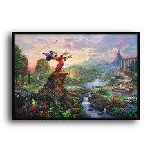 Thomas Kinkade Fantasia H1162, HD Cópia Da Lona decoração de Casa Sala quarto Parede pictures pintura a Arte da animação Dos Desenhos Animados