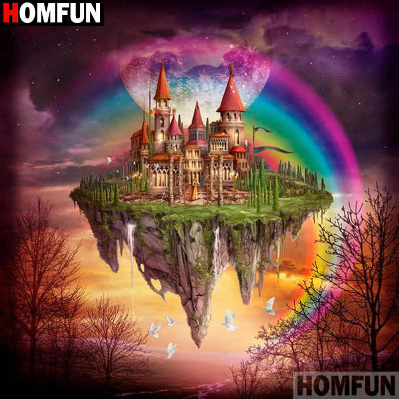"HOMFUN Full Square/Round Drill 5D DIY Diamond Painting ""Castle rainbow"" 3D Diamond Embroidery Cross Stitch Home Decor A21383"