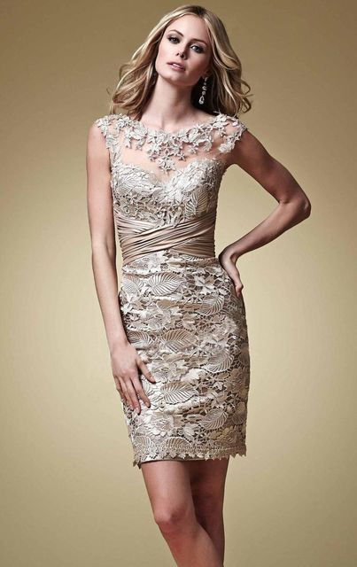 7720bcabf02 Sexy Mother of the Bride Dress Champagne Lace Beaded Pleats Vestidos De  Festa Cap Sleeves Mi-Ni Evening Prom Dresses L082