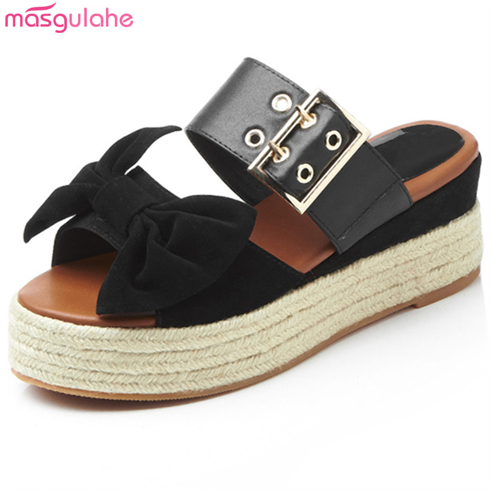 37276f90e1 Masgulahe black fashion summer new women shoes kid suede ladies wedges  sandals casual comfortable platform shoes