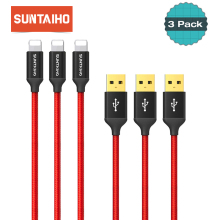 3-Pack Suntaiho for lighting USB Cable Charging for iPhone 6 7 8 Plus Cable Charger 90 / 120cm Car Charger Cable for iPhone X