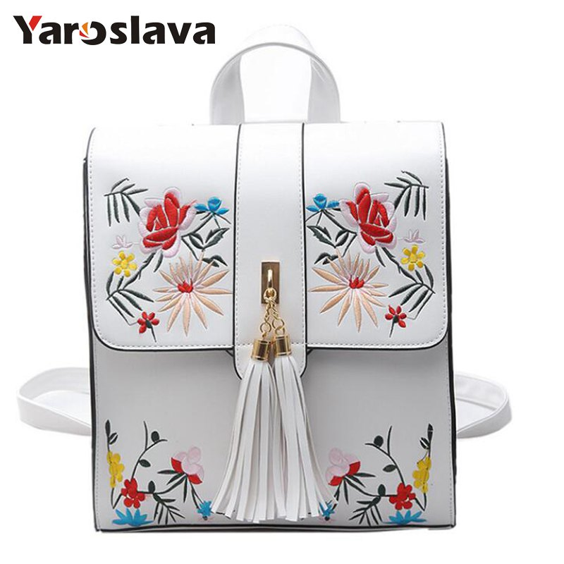 где купить High Quality PU Embroidery Backpack School Bags For Teenagers Casual Black Trave Backpack Women Mochila Sac A Dos Femme LL1 по лучшей цене